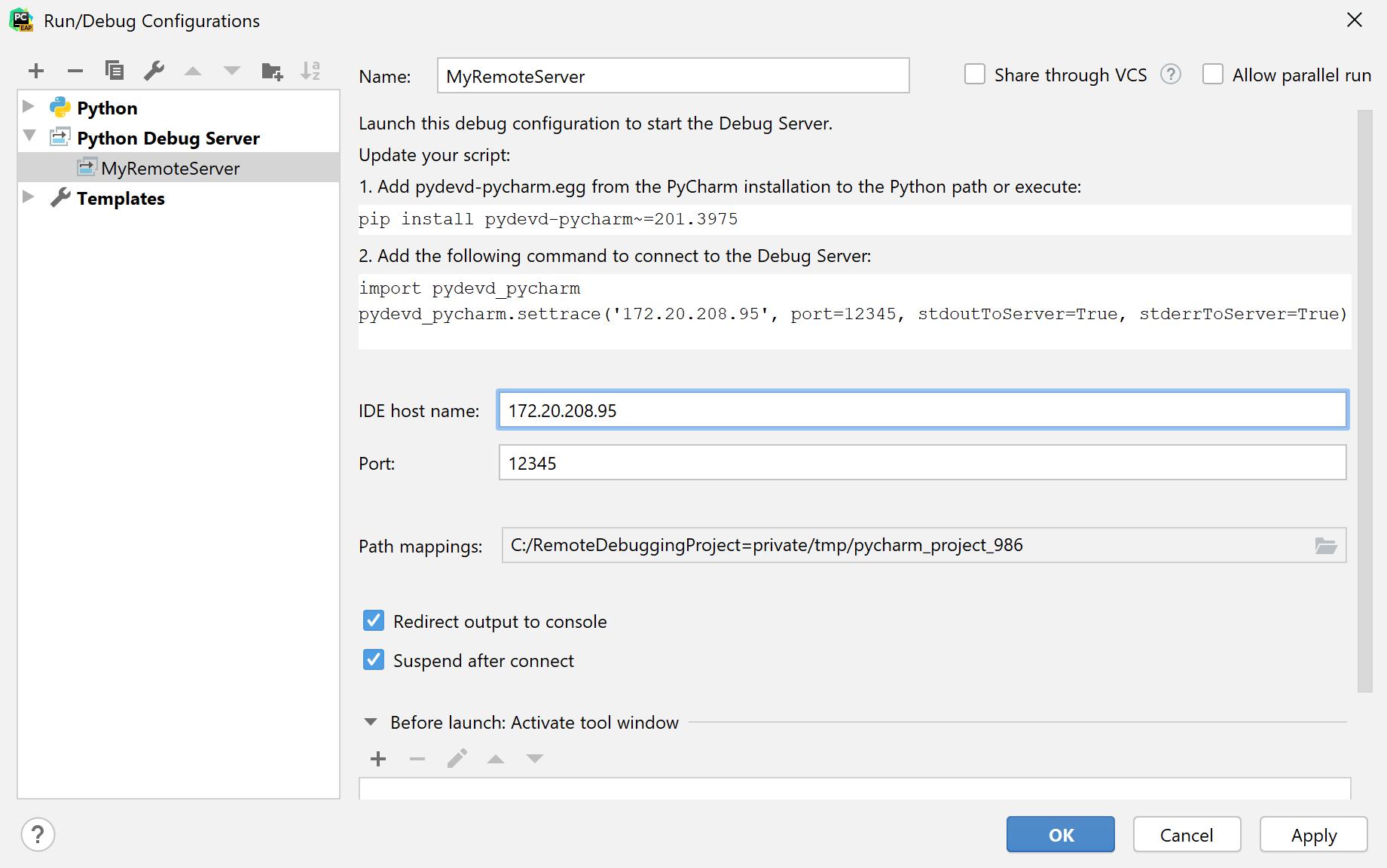 Adding a Python remote debug configuration