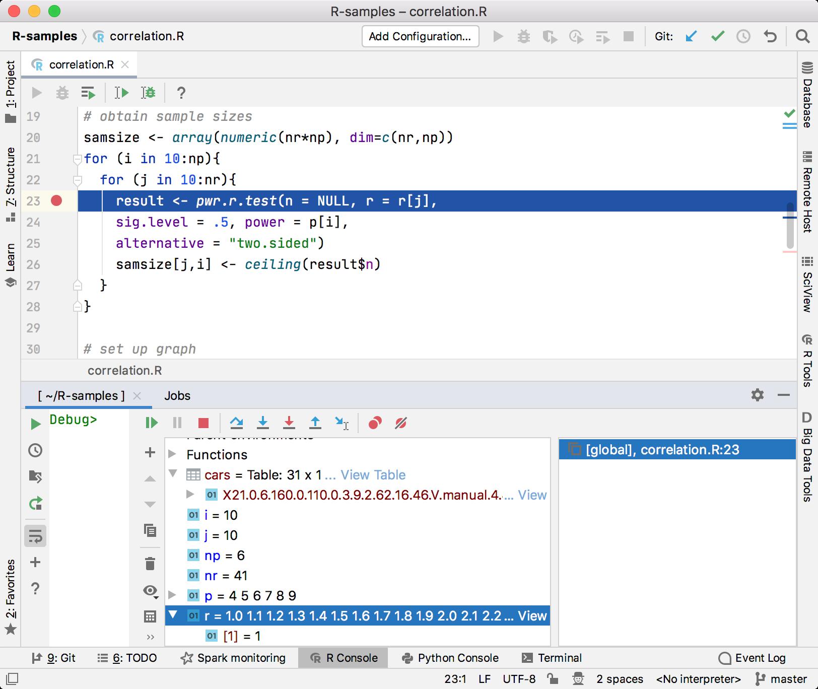 Debugging an R script in PyCharm