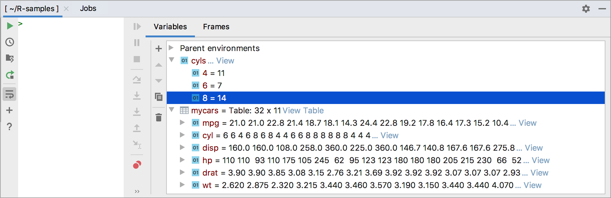 Preview variables in the R Console