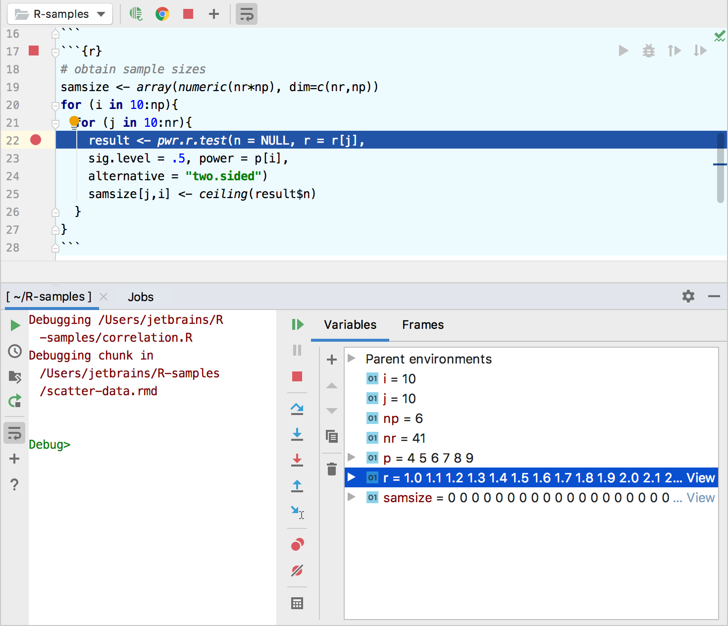 Debugging code chunks in an R Markdown file in PyCharm
