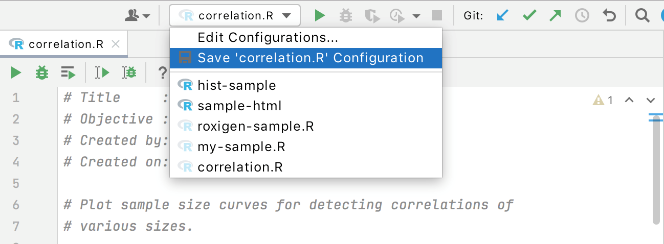 R run/debug configurations
