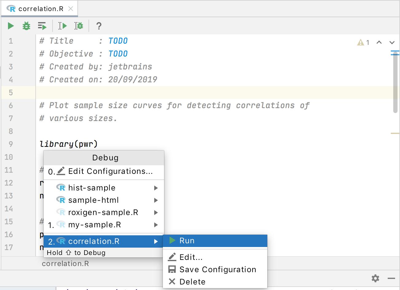 temporary run/debug configuration