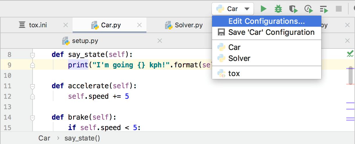 Selecting a run/debug configuration