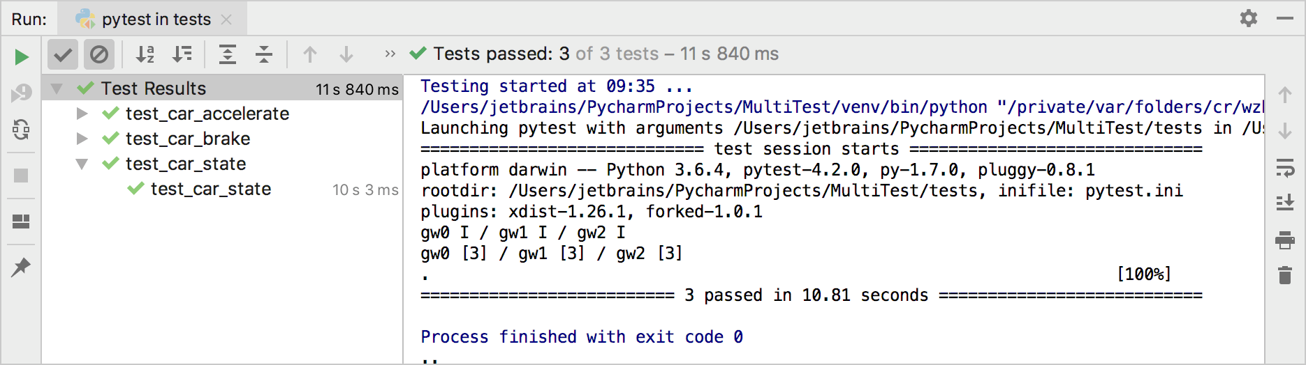 Running tests in parallel