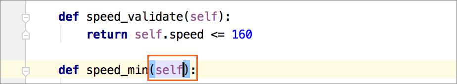 Insert 'self' when defining a method