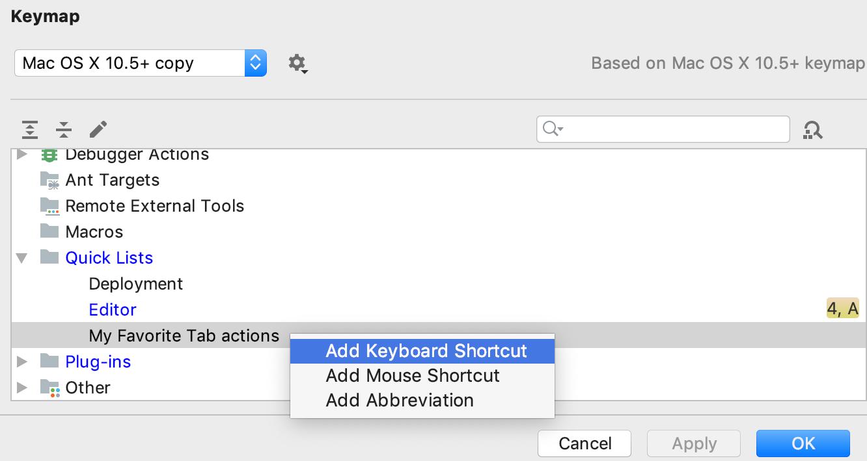 Keymap settings for quick lists