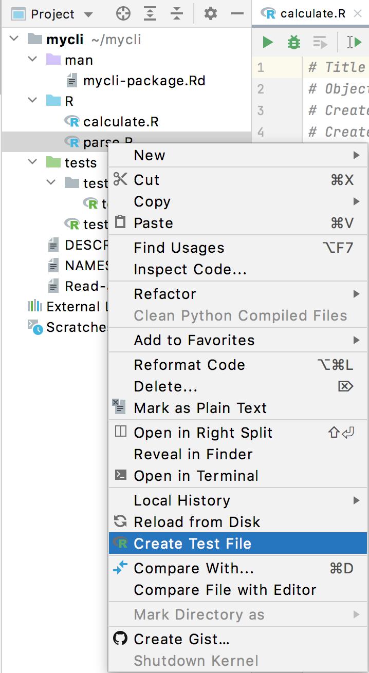 Create a test file in the context menu