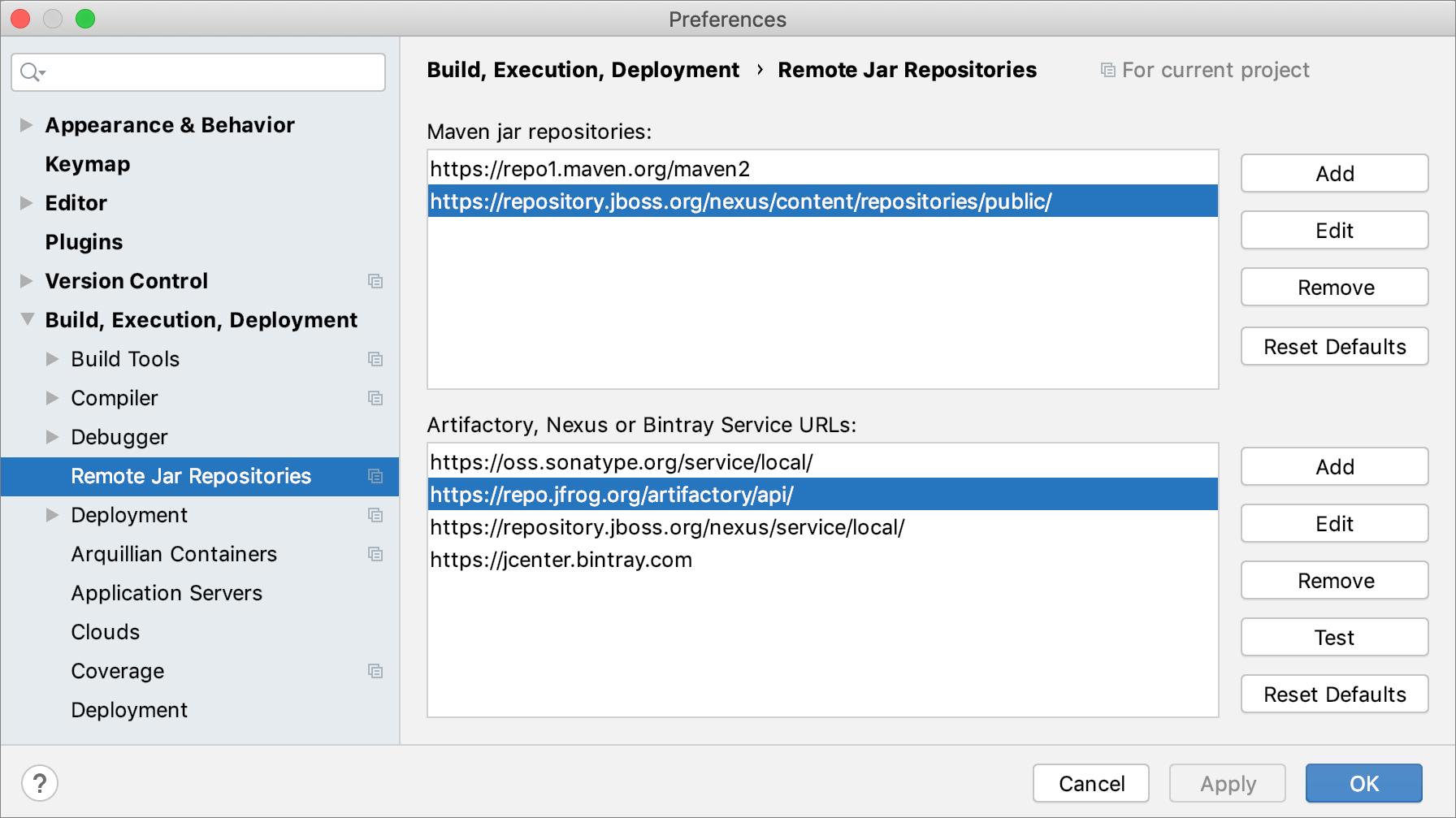 Configuring custom remote repository