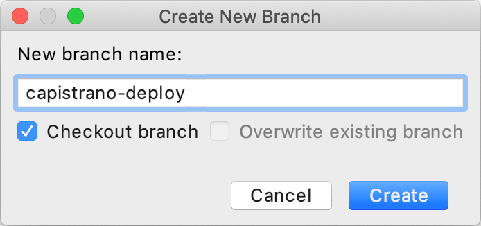 Create New Branch dialog