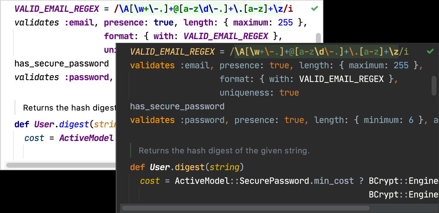 Default color schemes for Ruby