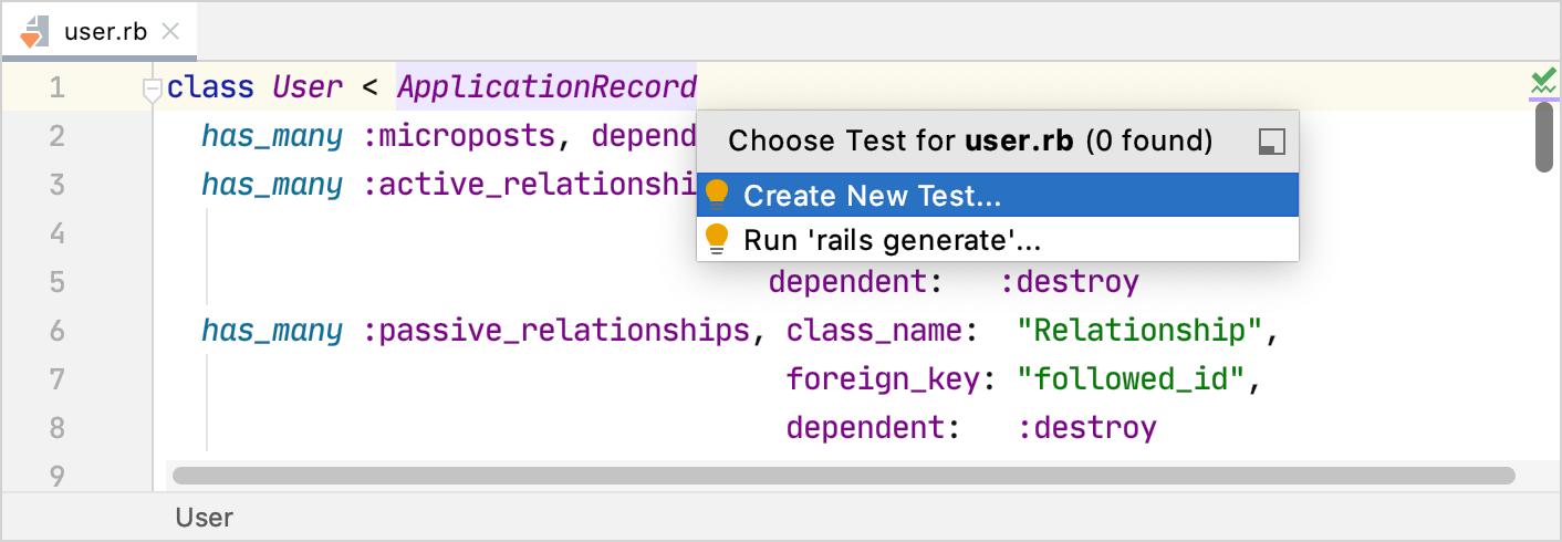 Create Test popup