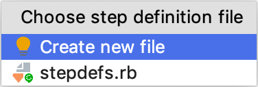 Choose step definition file