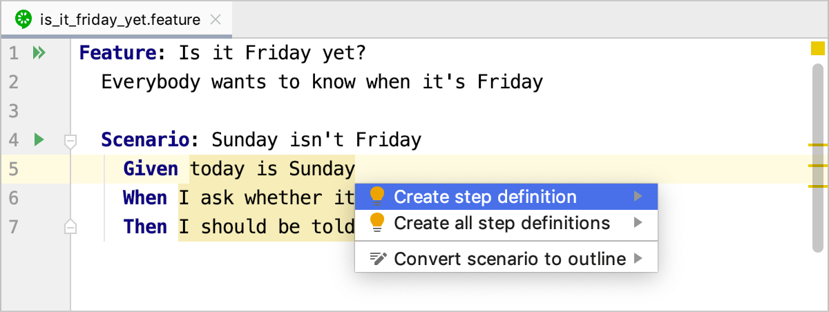 Create step definition