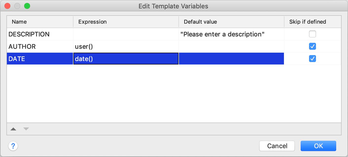 Edit template variables dialog