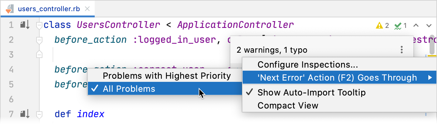 Configuring navigation between highlighted lines