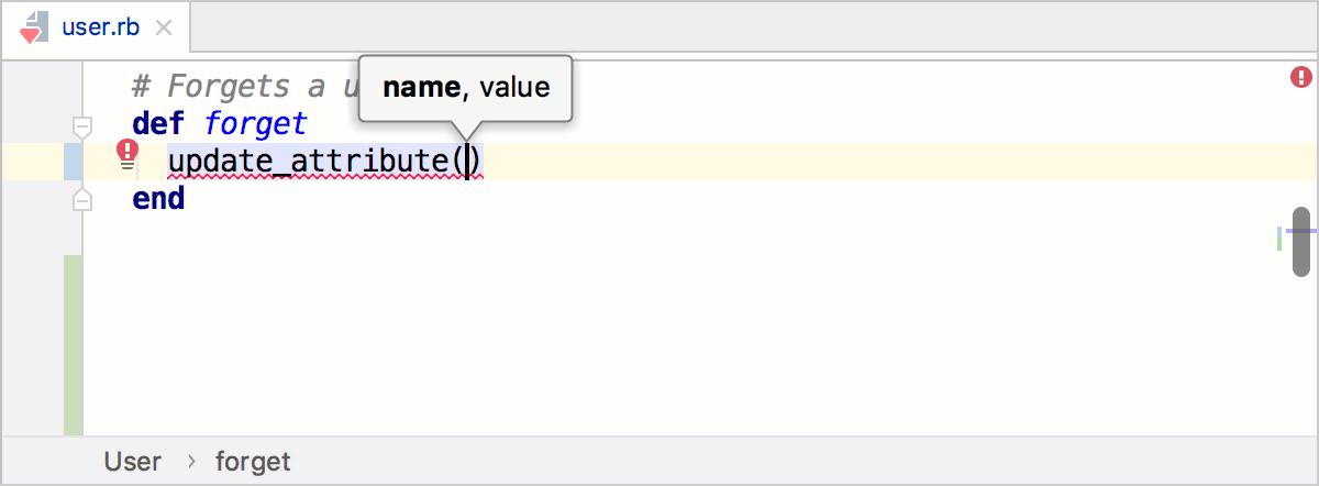 Parameter info popup