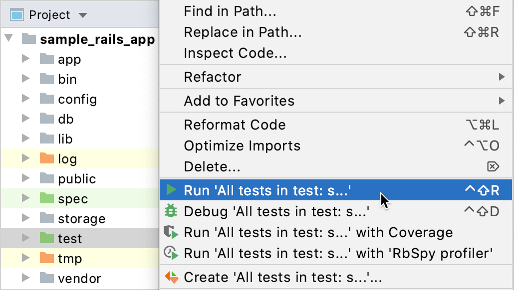 Run all tests in a directory