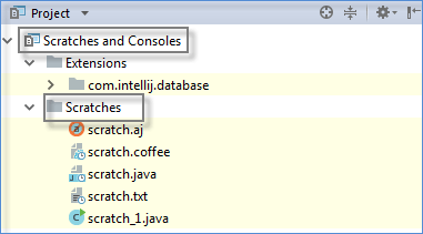 Scratch files in the Project window
