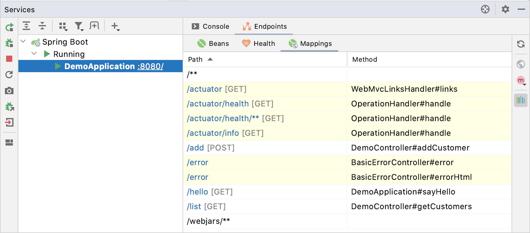 Spring Boot Mappings endpoints tab