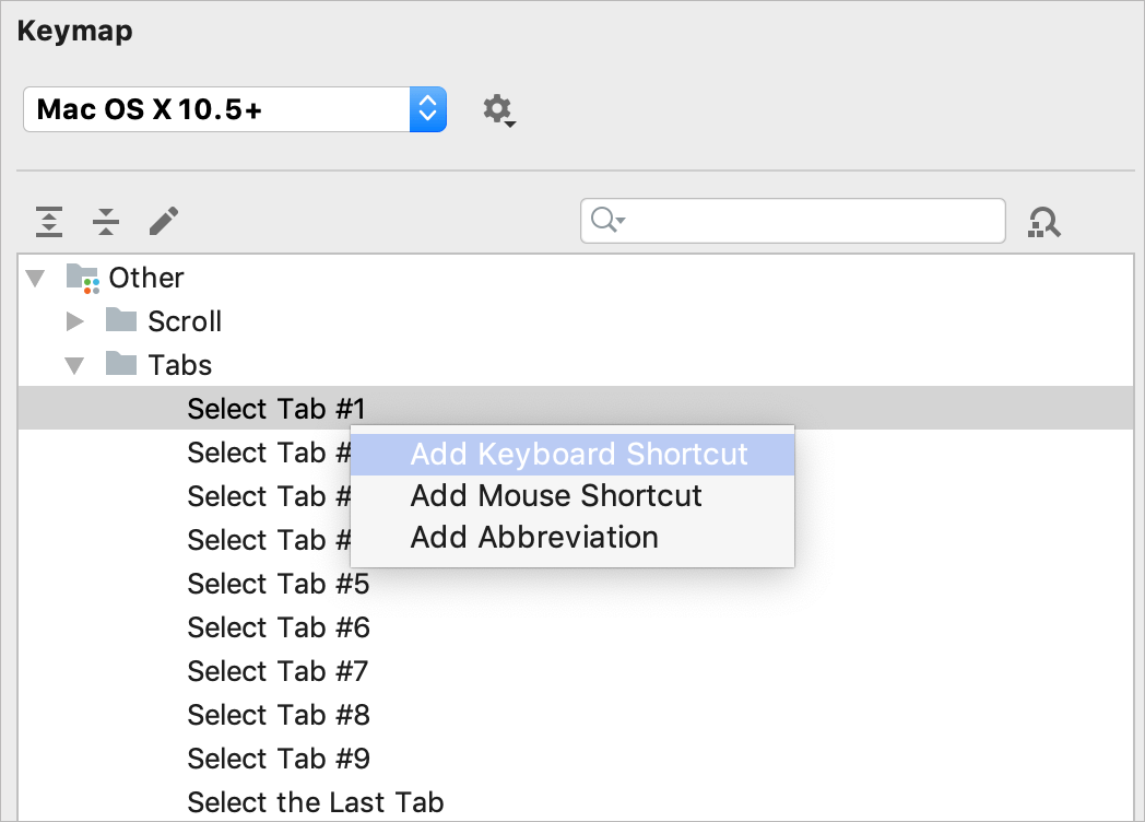 Add shortcuts for tabs