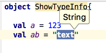 Show type info for string