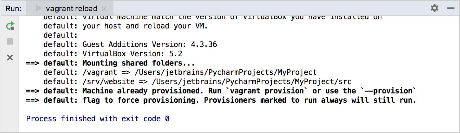 Vagrant reloading results