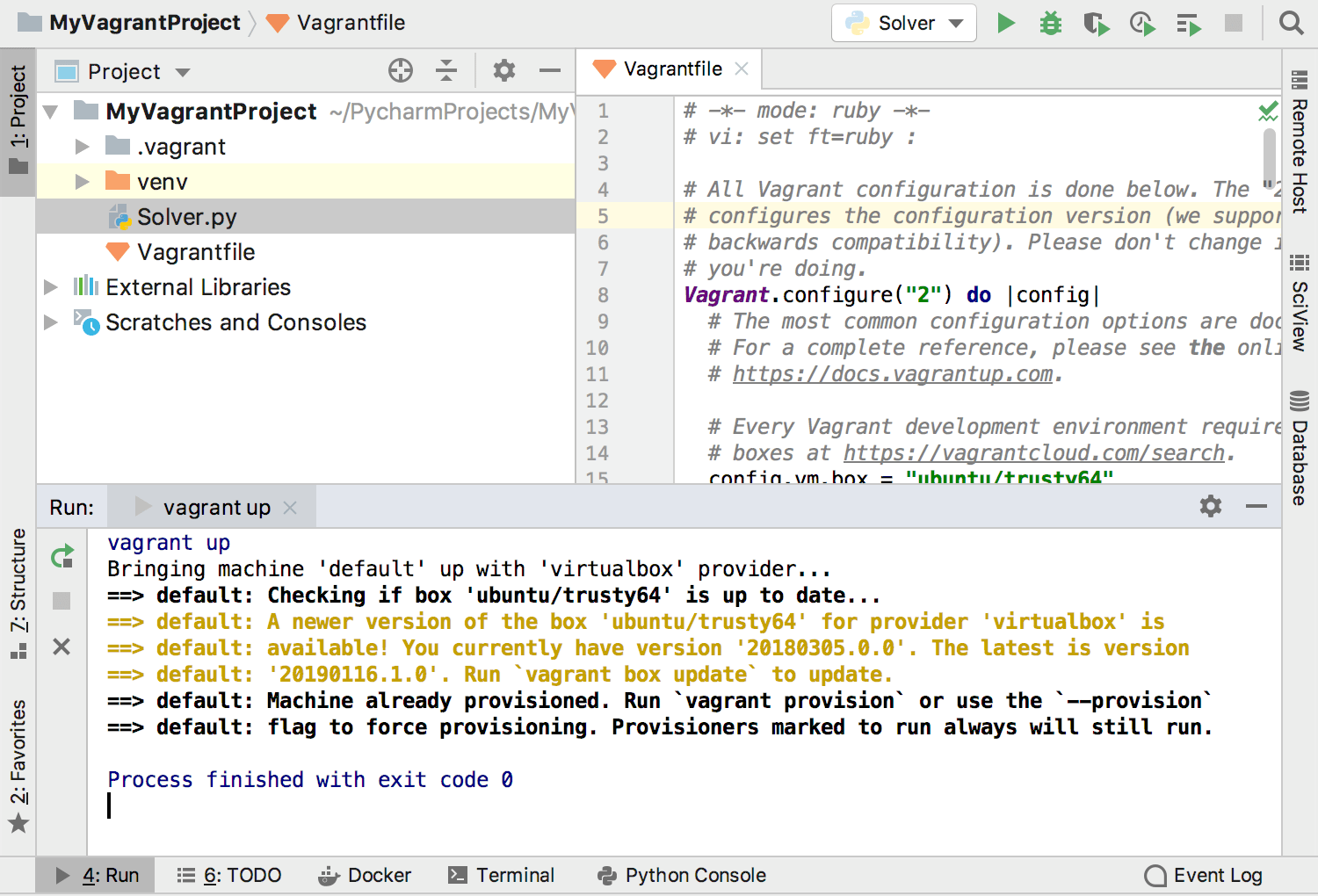 Running the vagrant up command