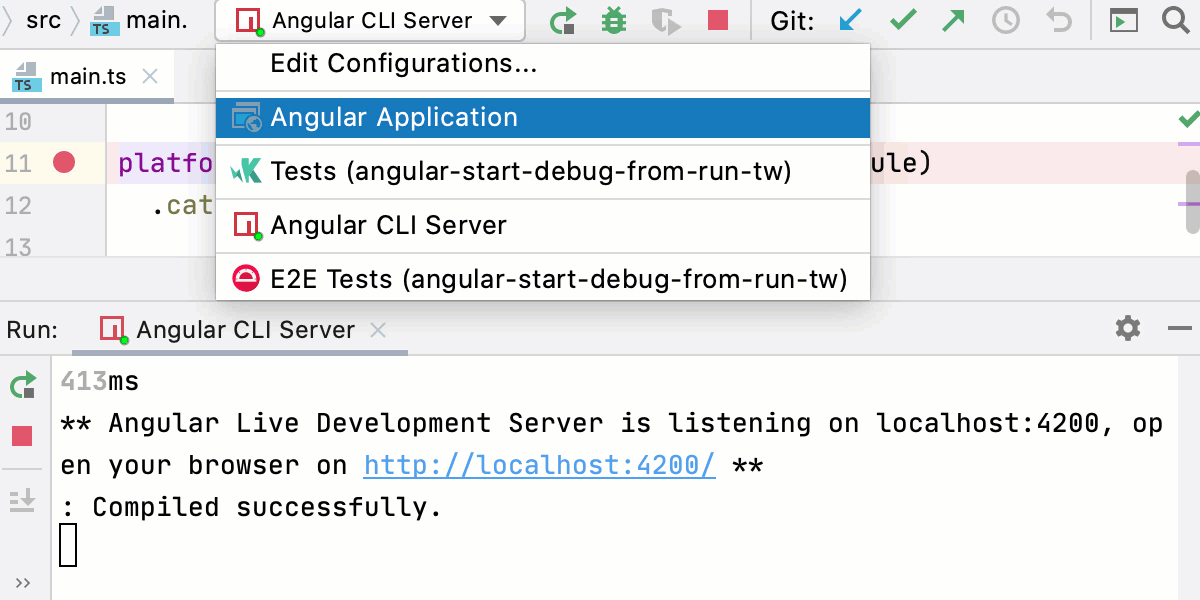 Start a debugging session via a run configuration