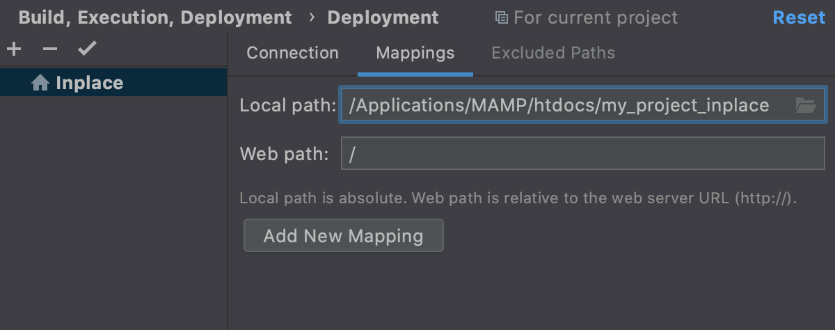 Map the project root to it URL