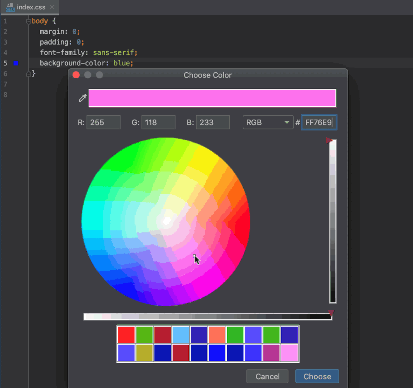 Editing color values in Style Sheets