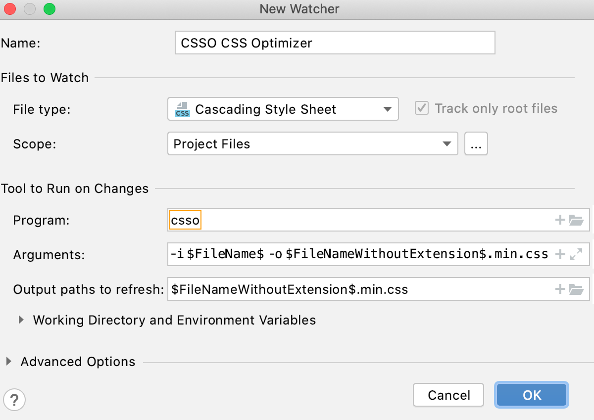 Create CSSO watcher: New Watcher dialog with default settings