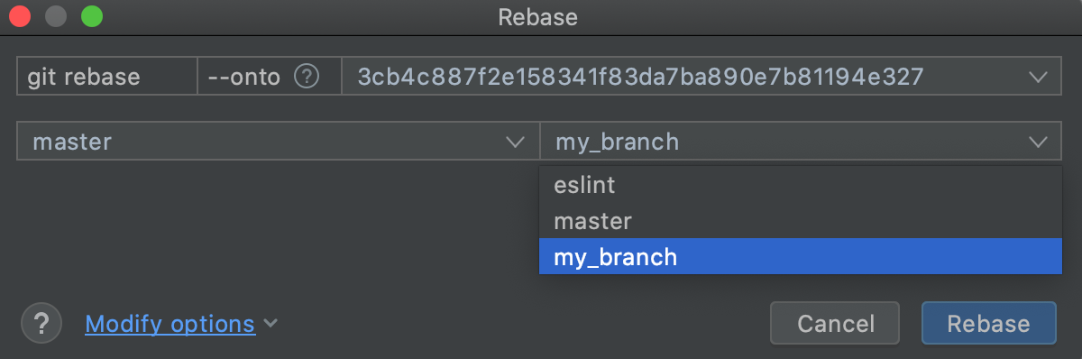 Choose the branch you want to rebase