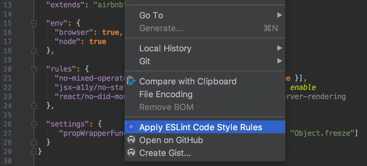 Importing ESLint code style rules from JavaScript or YAML configuration files