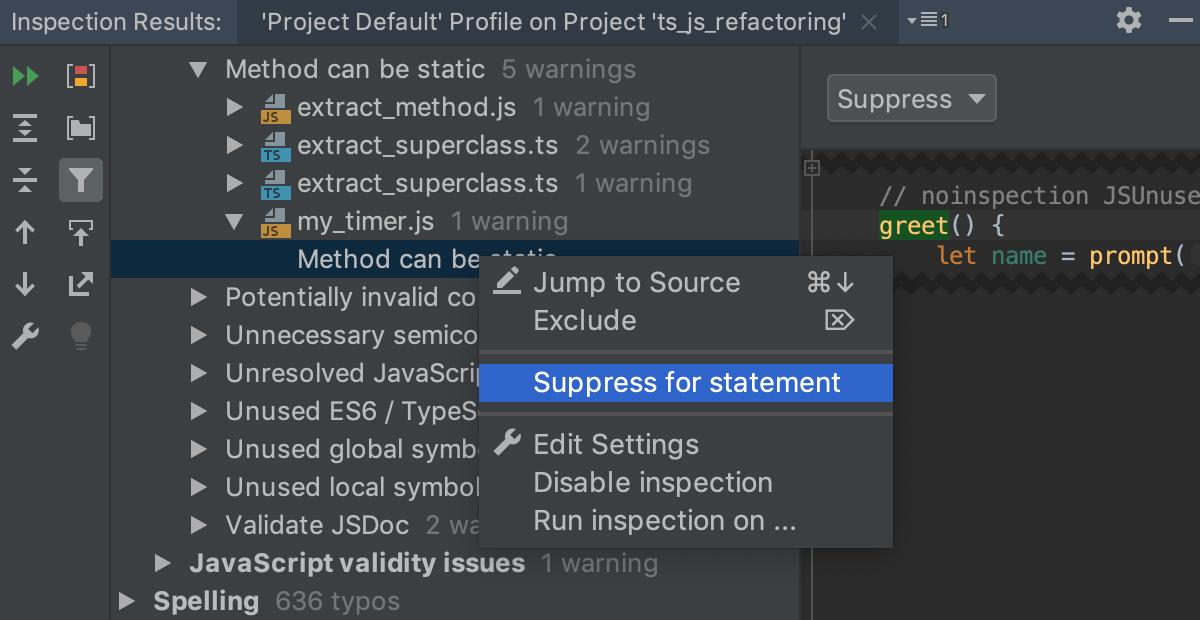 Suppressing an inspection in the Results tool window