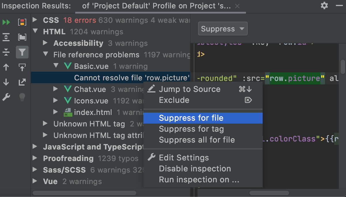 Suppressing an inspection for a file