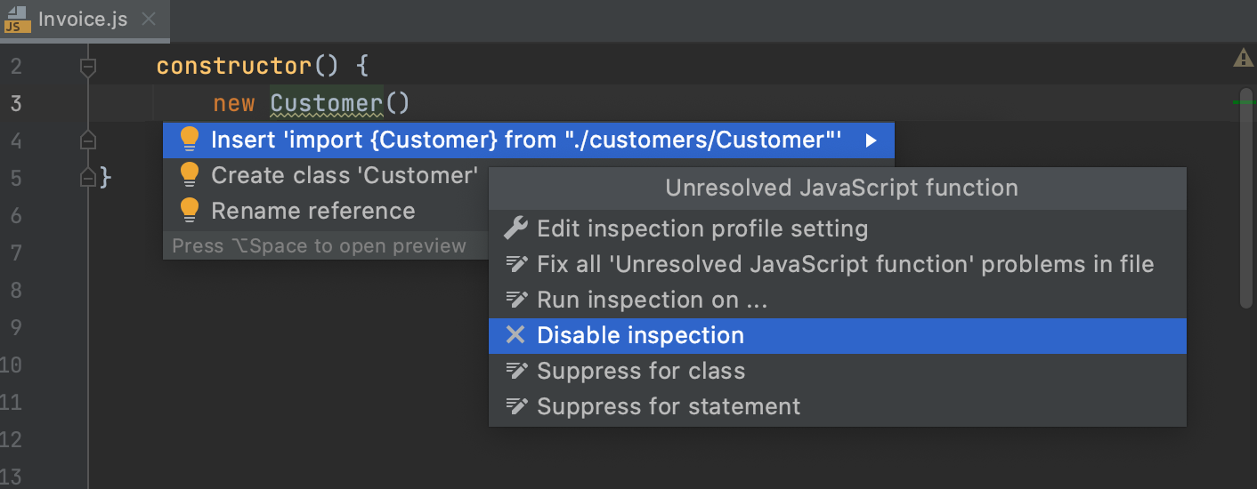 Disable Missing importg statement inspection