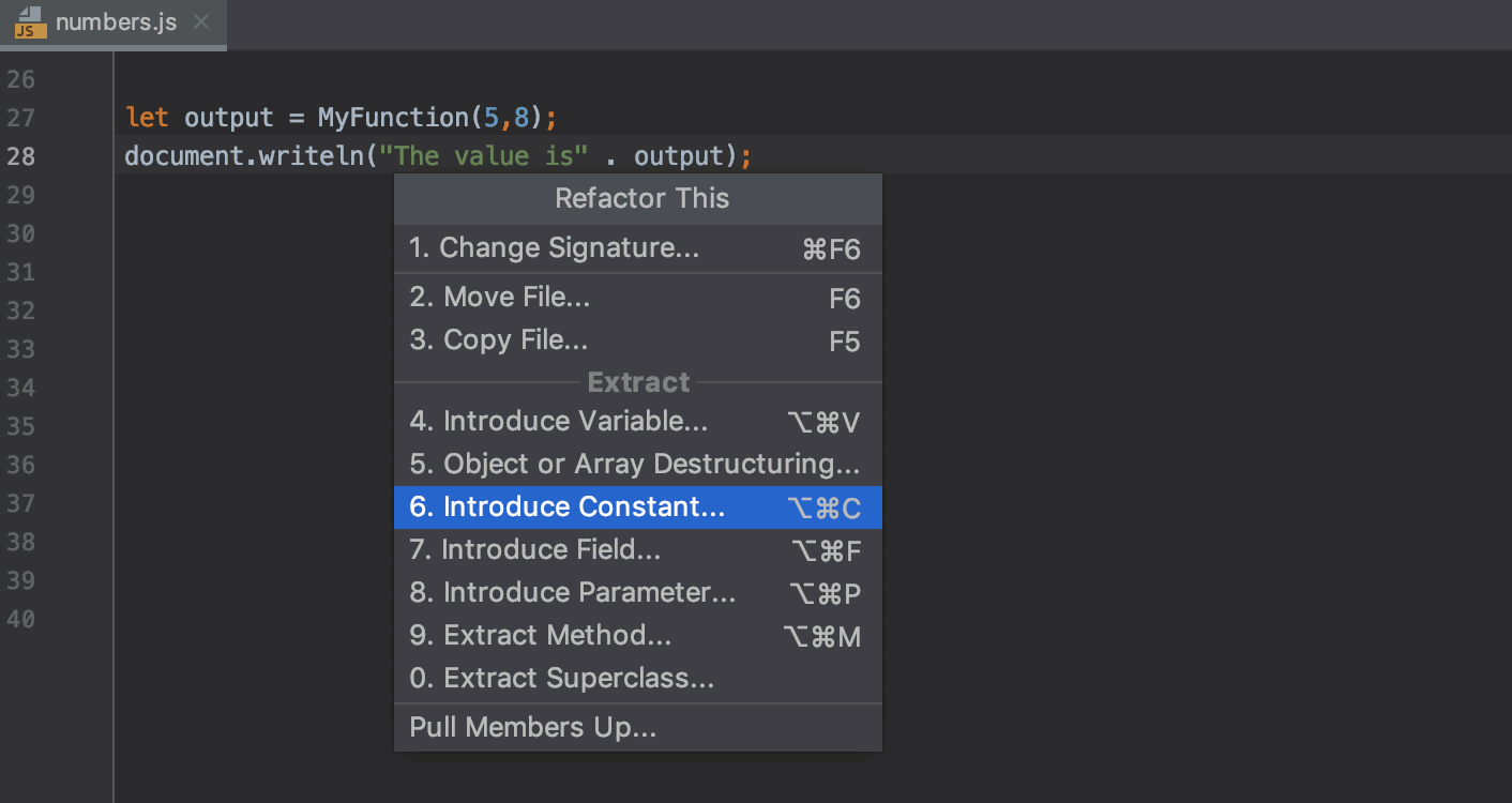 Introduce Constant refactoring