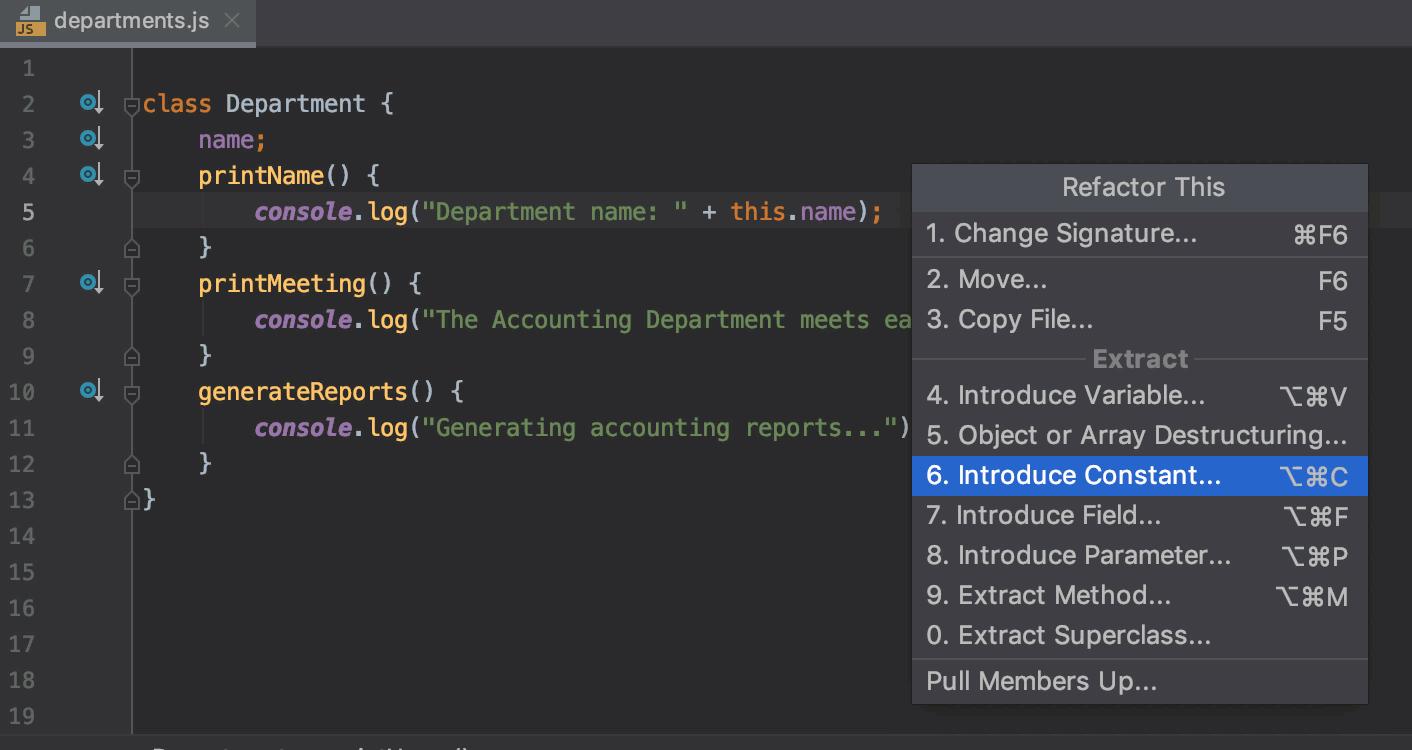 Refactoring Javascript Webstorm