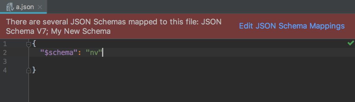 Notification about conflicting schema scopes in the  editor