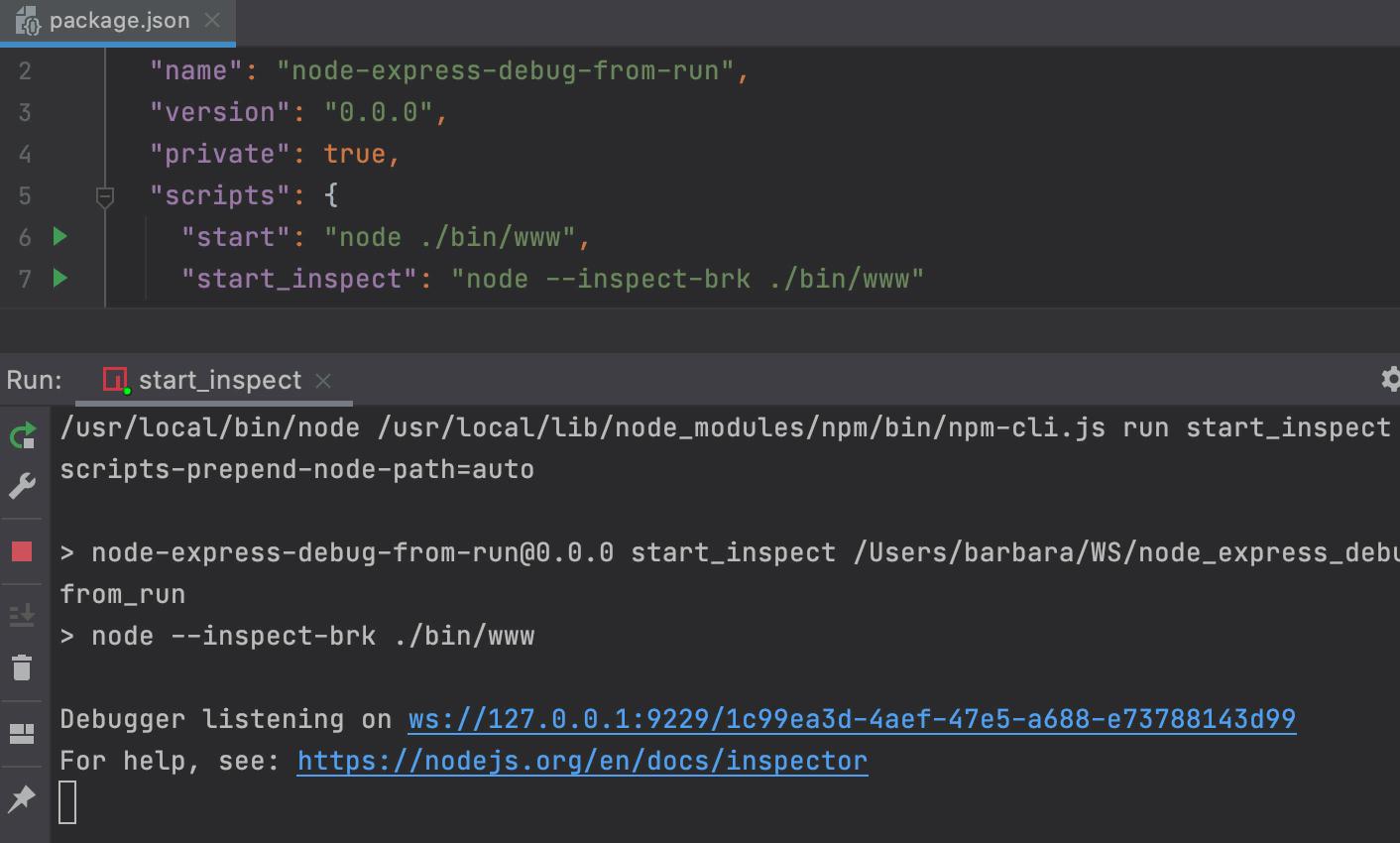 Running a script: Run tool window