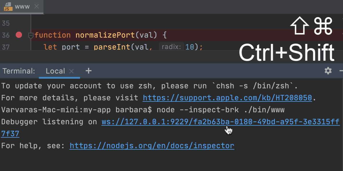 Attach the debugger to a running Node.js app from the built-in Terminal