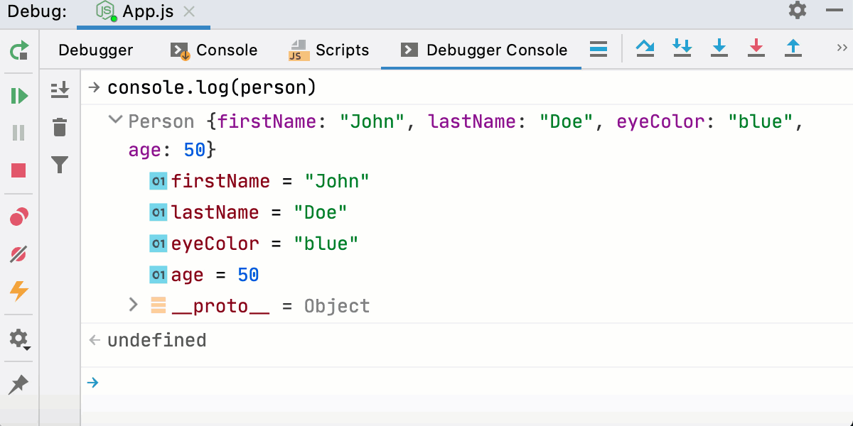 Node interactive debugger console: run JavaScript code
