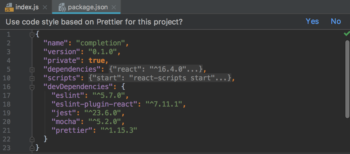 Pane above package.json: apply Prettier code style