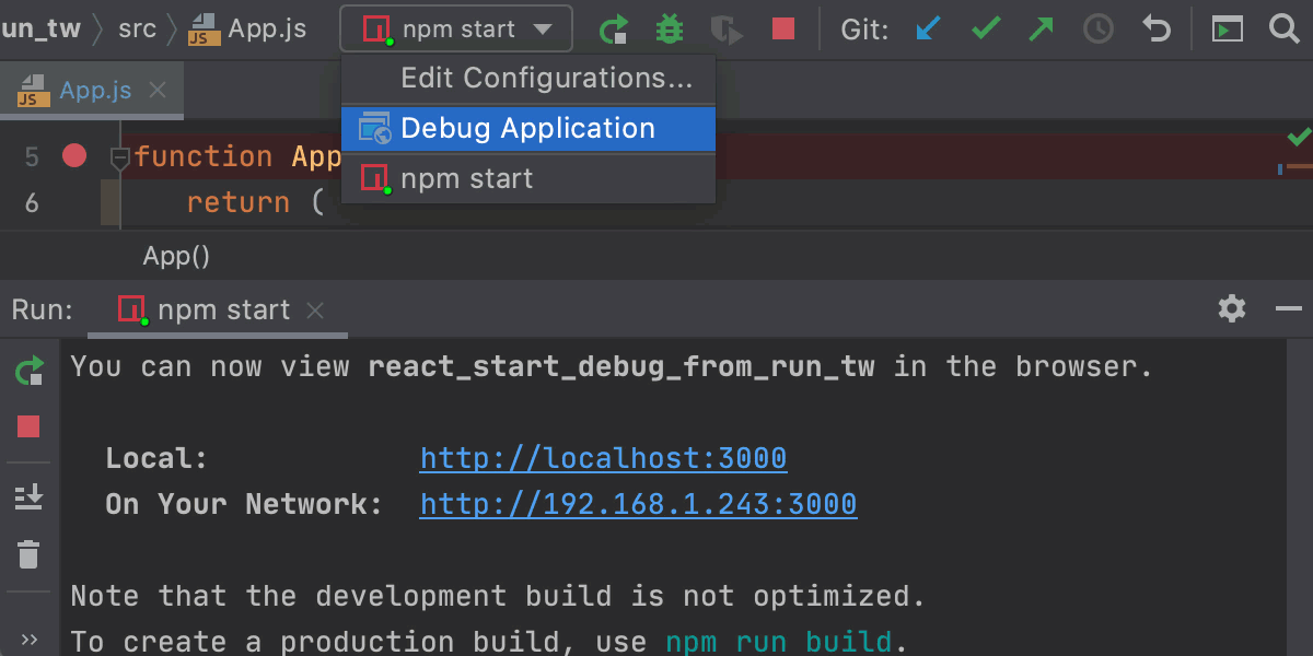 Start debugging an React app with Debug Application configuration