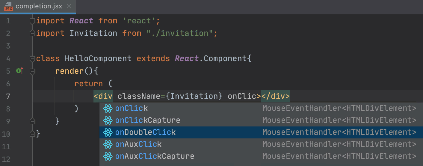 Complete React events