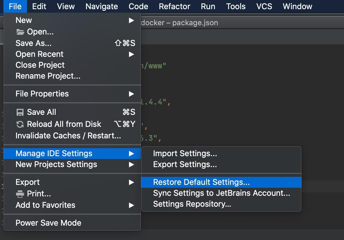Restore IDE defaults