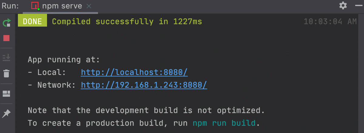 Run tool window shows the output of the npm serve command