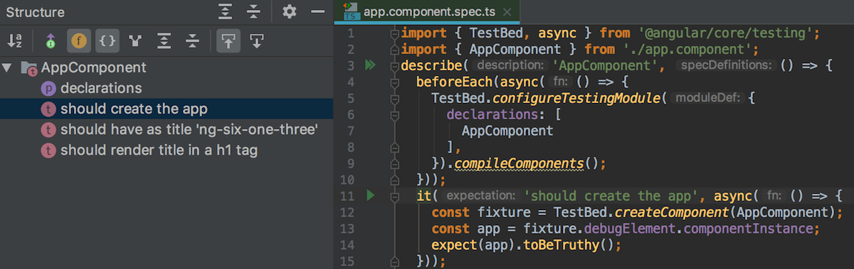 Structure view for tests