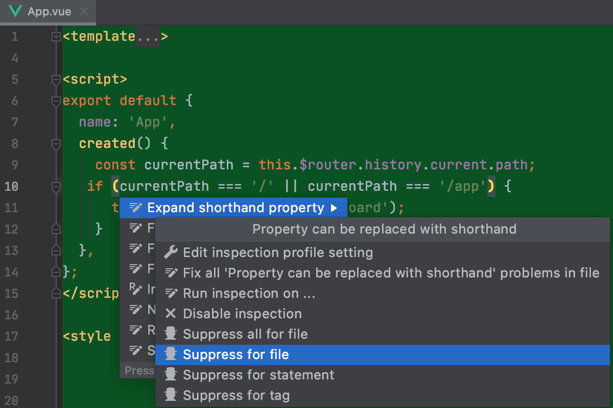 Suppress inspection in the editor (Vue.js and HTML)