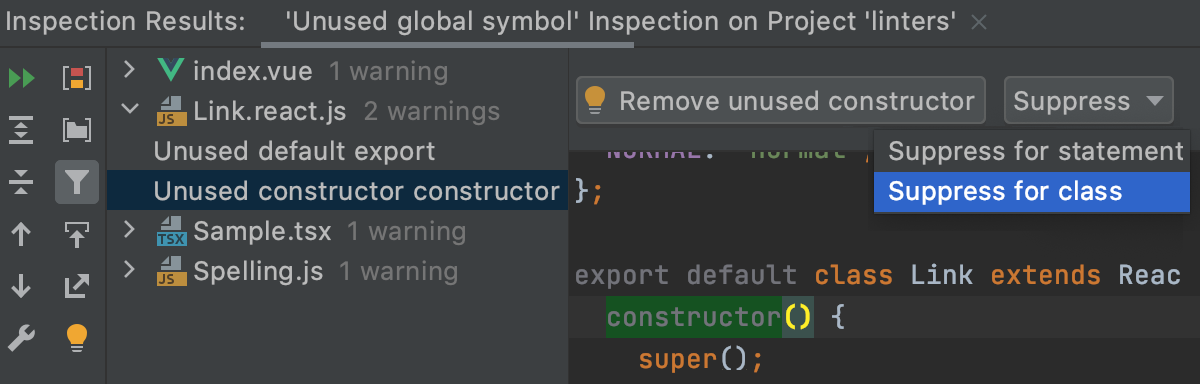 Suppress an inspection for a JavaScript class in the Inspection Results tool window
